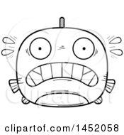 Cartoon Black And White Lineart Scared Piranha Fish Character Mascot