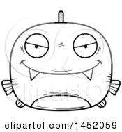 Cartoon Black And White Lineart Sly Piranha Fish Character Mascot