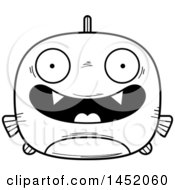 Clipart Graphic Of A Cartoon Black And White Lineart Happy Piranha Fish Character Mascot Royalty Free Vector Illustration