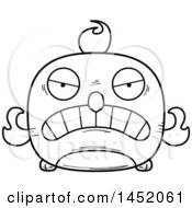 Clipart Graphic Of A Cartoon Black And White Lineart Mad Phoenix Character Mascot Royalty Free Vector Illustration