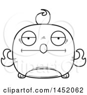 Clipart Graphic Of A Cartoon Black And White Lineart Bored Phoenix Character Mascot Royalty Free Vector Illustration