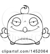 Clipart Graphic Of A Cartoon Black And White Lineart Evil Phoenix Character Mascot Royalty Free Vector Illustration
