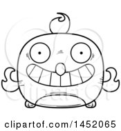Cartoon Black And White Lineart Grinning Phoenix Character Mascot