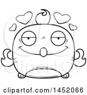 Clipart Graphic Of A Cartoon Black And White Lineart Loving Phoenix Character Mascot Royalty Free Vector Illustration