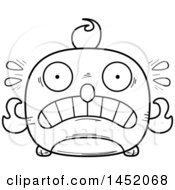 Clipart Graphic Of A Cartoon Black And White Lineart Scared Phoenix Character Mascot Royalty Free Vector Illustration