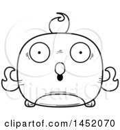 Clipart Graphic Of A Cartoon Black And White Lineart Surprised Phoenix Character Mascot Royalty Free Vector Illustration
