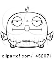 Clipart Graphic Of A Cartoon Black And White Lineart Bored Parrot Bird Character Mascot Royalty Free Vector Illustration