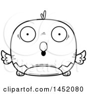 Clipart Graphic Of A Cartoon Black And White Lineart Surprised Parrot Bird Character Mascot Royalty Free Vector Illustration