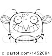 Cartoon Black And White Lineart Grinning Mosquito Character Mascot