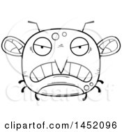 Cartoon Black And White Lineart Mad Mosquito Character Mascot