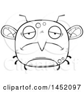 Cartoon Black And White Lineart Sad Mosquito Character Mascot