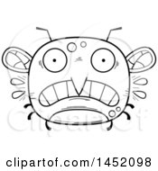 Poster, Art Print Of Cartoon Black And White Lineart Scared Mosquito Character Mascot