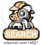 Detective Dog Looking Through A Magnifying Glass On A Search Internet Web Icon Clipart Illustration