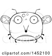 Clipart Graphic Of A Cartoon Black And White Lineart Surprised Mosquito Character Mascot Royalty Free Vector Illustration