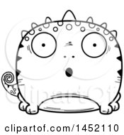 Clipart Graphic Of A Cartoon Black And White Lineart Surprised Lizard Character Mascot Royalty Free Vector Illustration