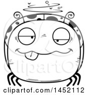 Cartoon Black And White Lineart Drunk Ladybug Character Mascot