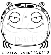 Cartoon Black And White Lineart Evil Ladybug Character Mascot