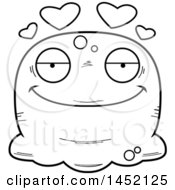 Clipart Graphic Of A Cartoon Black And White Lineart Loving Blob Character Mascot Royalty Free Vector Illustration by Cory Thoman