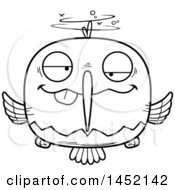 Cartoon Black And White Lineart Drunk Hummingbird Character Mascot