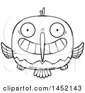 Clipart Graphic Of A Cartoon Black And White Lineart Grinning Hummingbird Character Mascot Royalty Free Vector Illustration