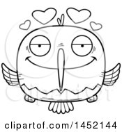 Clipart Graphic Of A Cartoon Black And White Lineart Loving Hummingbird Character Mascot Royalty Free Vector Illustration