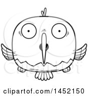 Clipart Graphic Of A Cartoon Black And White Lineart Surprised Hummingbird Character Mascot Royalty Free Vector Illustration