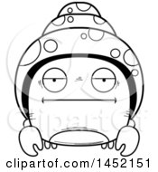 Clipart Graphic Of A Cartoon Black And White Lineart Bored Hermit Crab Character Mascot Royalty Free Vector Illustration