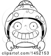 Clipart Graphic Of A Cartoon Black And White Lineart Grinning Hermit Crab Character Mascot Royalty Free Vector Illustration