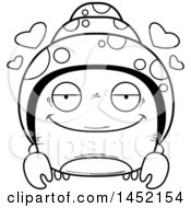 Cartoon Black And White Lineart Loving Hermit Crab Character Mascot