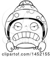 Clipart Graphic Of A Cartoon Black And White Lineart Mad Hermit Crab Character Mascot Royalty Free Vector Illustration