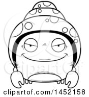 Clipart Graphic Of A Cartoon Black And White Lineart Sly Hermit Crab Character Mascot Royalty Free Vector Illustration