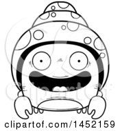 Cartoon Black And White Lineart Happy Hermit Crab Character Mascot