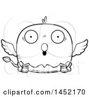 Clipart Graphic Of A Cartoon Black And White Lineart Surprised Griffin Character Mascot Royalty Free Vector Illustration