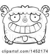 Cartoon Black And White Lineart Grinning Goat Character Mascot