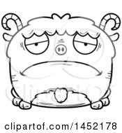 Clipart Graphic Of A Cartoon Black And White Lineart Sad Goat Character Mascot Royalty Free Vector Illustration