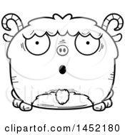 Clipart Graphic Of A Cartoon Black And White Lineart Surprised Goat Character Mascot Royalty Free Vector Illustration