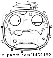 Clipart Graphic Of A Cartoon Black And White Lineart Drunk Germ Character Mascot Royalty Free Vector Illustration