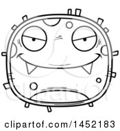 Clipart Graphic Of A Cartoon Black And White Lineart Evil Germ Character Mascot Royalty Free Vector Illustration