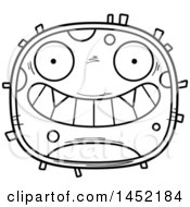 Clipart Graphic Of A Cartoon Black And White Lineart Grinning Germ Character Mascot Royalty Free Vector Illustration
