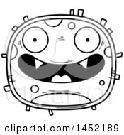 Clipart Graphic Of A Cartoon Black And White Lineart Happy Germ Character Mascot Royalty Free Vector Illustration