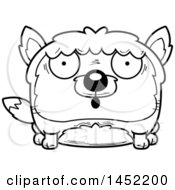 Clipart Graphic Of A Cartoon Black And White Lineart Surprised Fox Character Mascot Royalty Free Vector Illustration