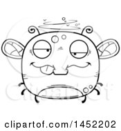 Poster, Art Print Of Cartoon Black And White Lineart Drunk Fly Character Mascot