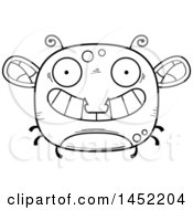 Poster, Art Print Of Cartoon Black And White Lineart Grinning Fly Character Mascot