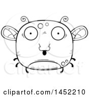 Clipart Graphic Of A Cartoon Black And White Lineart Surprised Fly Character Mascot Royalty Free Vector Illustration