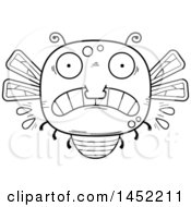 Poster, Art Print Of Cartoon Black And White Lineart Scared Dragonfly Character Mascot