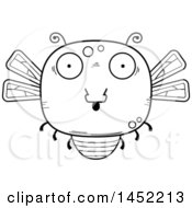 Clipart Graphic Of A Cartoon Black And White Lineart Surprised Dragonfly Character Mascot Royalty Free Vector Illustration