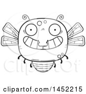 Poster, Art Print Of Cartoon Black And White Lineart Grinning Dragonfly Character Mascot