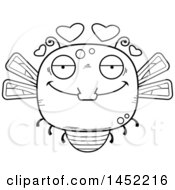 Cartoon Black And White Lineart Loving Dragonfly Character Mascot