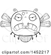 Poster, Art Print Of Cartoon Black And White Lineart Mad Dragonfly Character Mascot