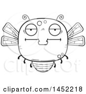 Poster, Art Print Of Cartoon Black And White Lineart Bored Dragonfly Character Mascot